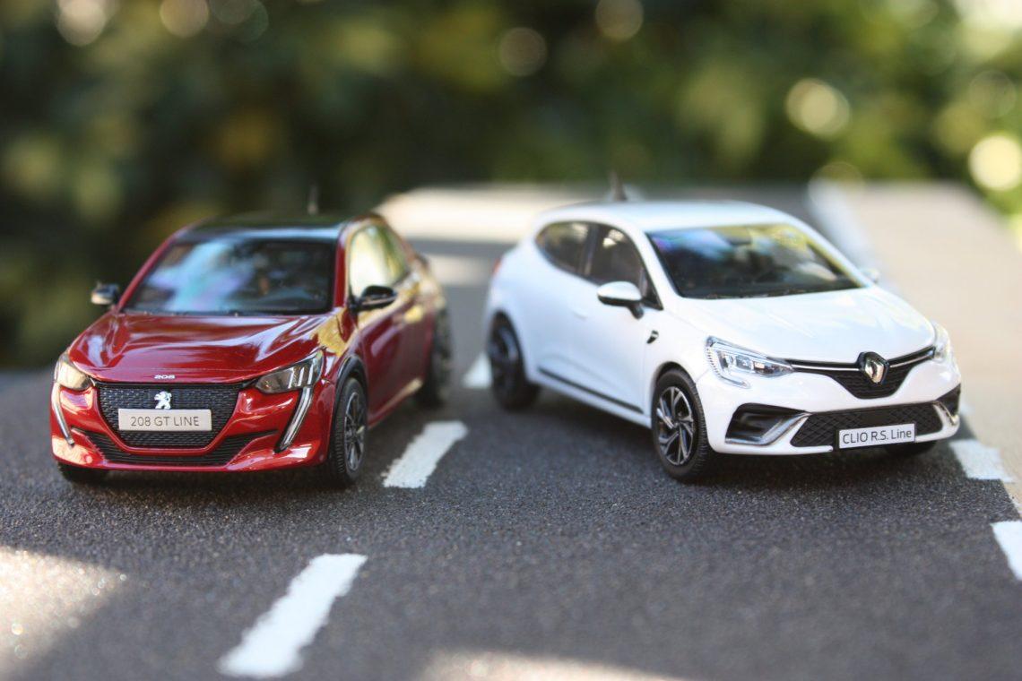 Peugeot 208 renault clio 2019 norev 1:43