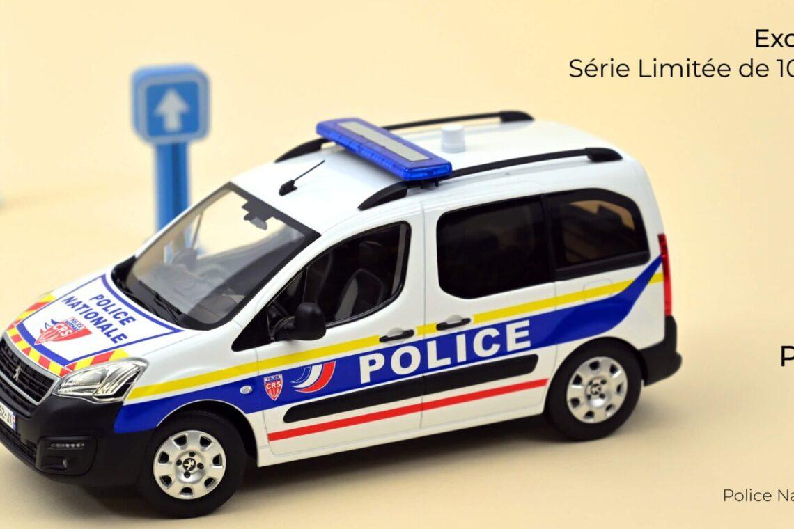 peugeot partner 1:18 norev police municipale, police nationale douanes