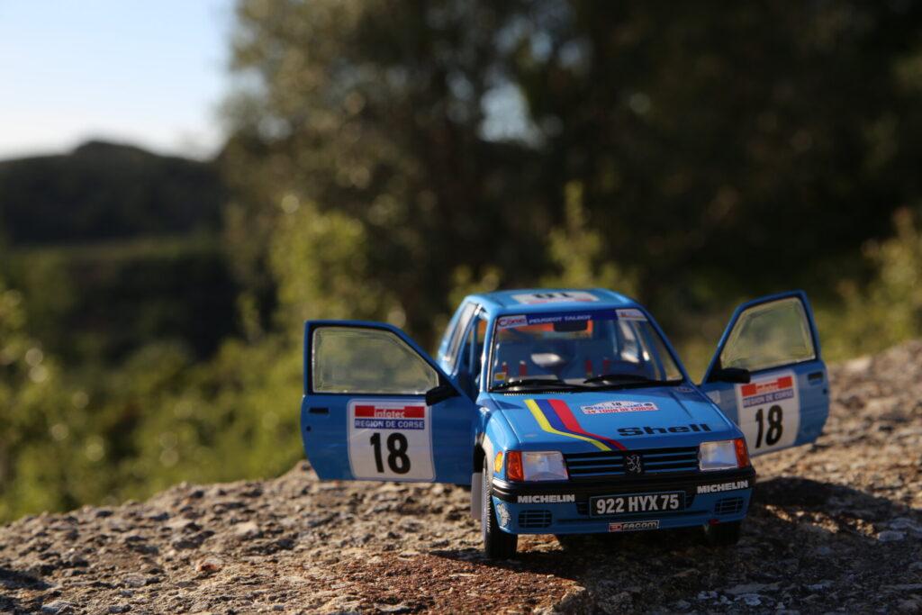 peugeot 205 rallye #18 pts tour de corse 1990 1:18 solido