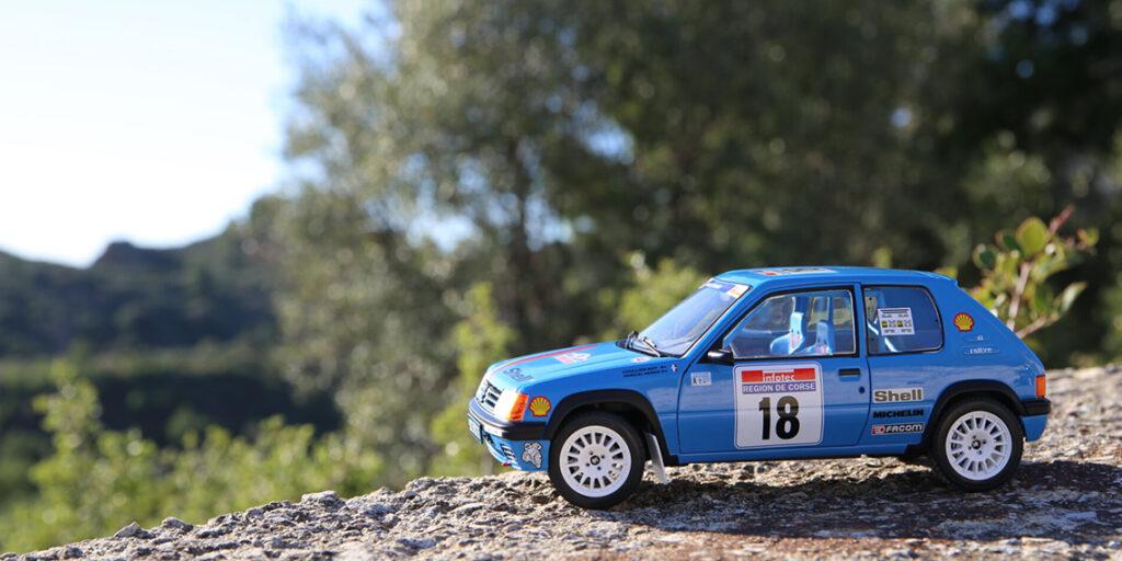 Solido signe le deuxième acte des quatre mousquetaires PTS avec la 205 Rallye de Hervé Vericel au Tour De Corse 1990